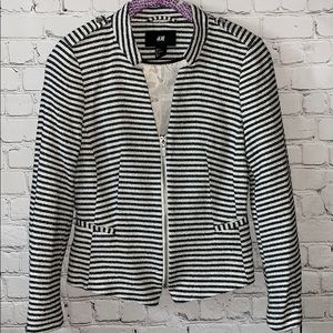 H&M Striped Zip Front Blazer